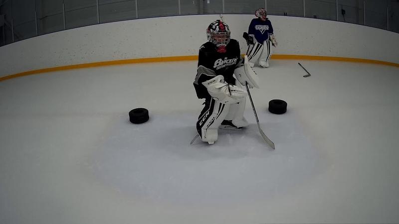Упражнение на льду, восьмерка Т-образный шаг.