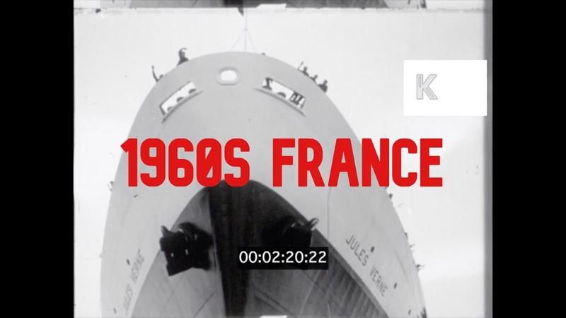 1960s France Sea Launch of Jules Verne Ocean Liner Champagne Bottle Thrown Against Hull 16mm