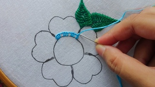 hand embroidery fancy flower stitch with pearl,latest flower embroidery
