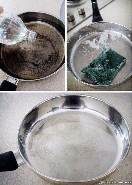 Как отмыть пригоревшую сковороду Заполните дно кастрюли водой, добавьте 1 чашку уксуса, доведите до кипения. Снимите с огня и добавьте соду, когда смесь перестанет шипеть, слейте воду. Если