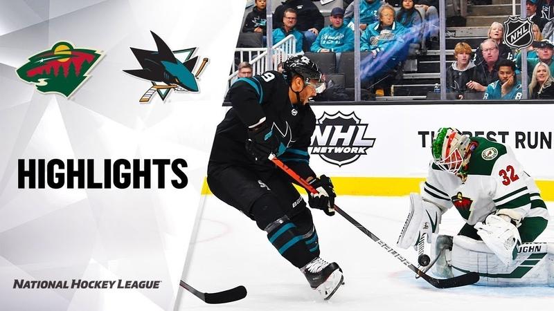 Сан-Хосе - Миннесота / NHL Highlights | Wild @ Sharks 11/07/19