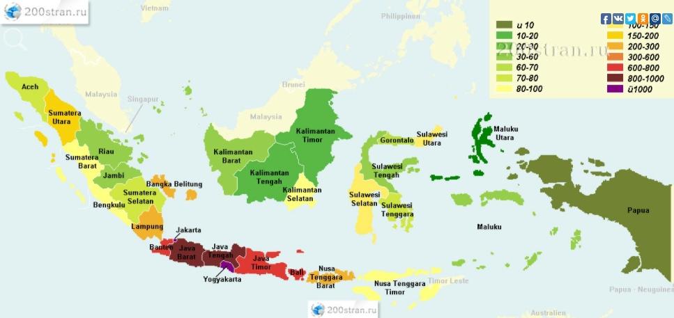 Карта плотности населения Индонезии