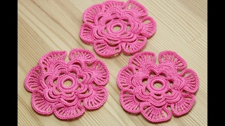 Как связать ЦВЕТОК крючком - вязание крючком -  Crochet 3D Flower Pattern
