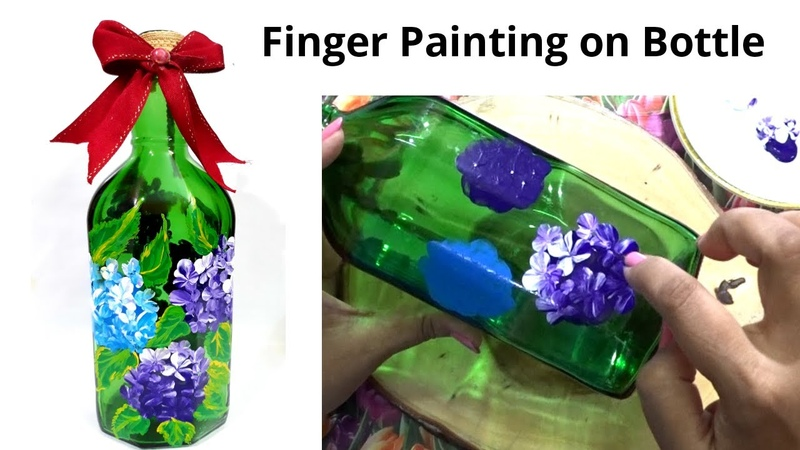 Finger Painting on Bottle Paint Hydrangea Flowers with Finger Sikha Crafts
