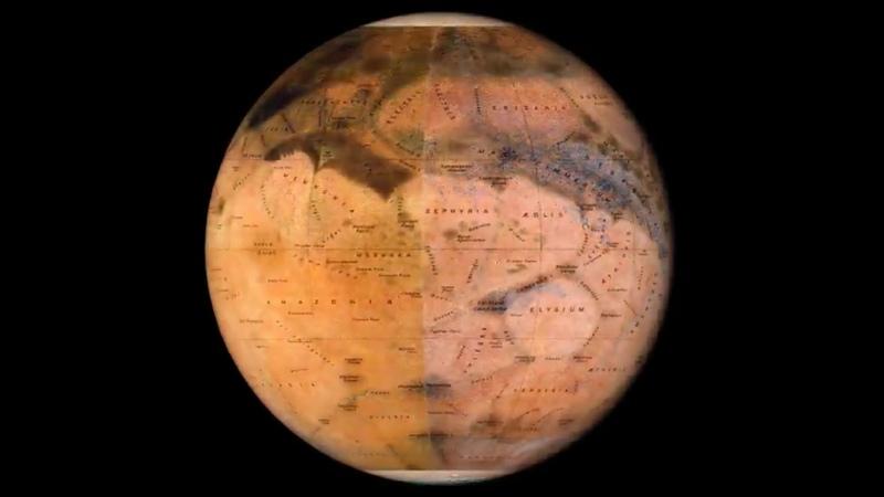Современная карта Марса и карта, составленная итальянским астрономом Эженом Мишелем Антониади в начале XX века