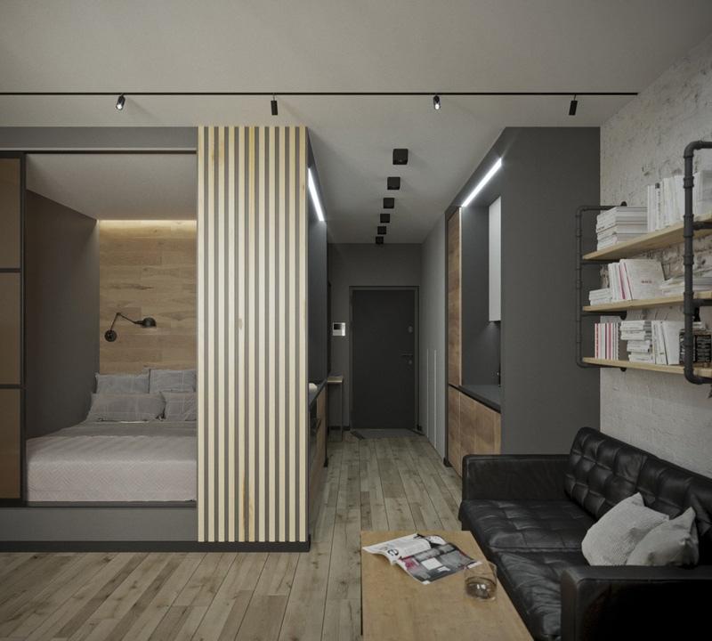 Проект квартиры 30 м (в том числе лоджия 4,8 м) в стиле лофт с проходной кухней и спальной нишей.