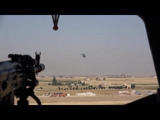 Воздушное сопровождение колонны автомобильной техники при патрулировании