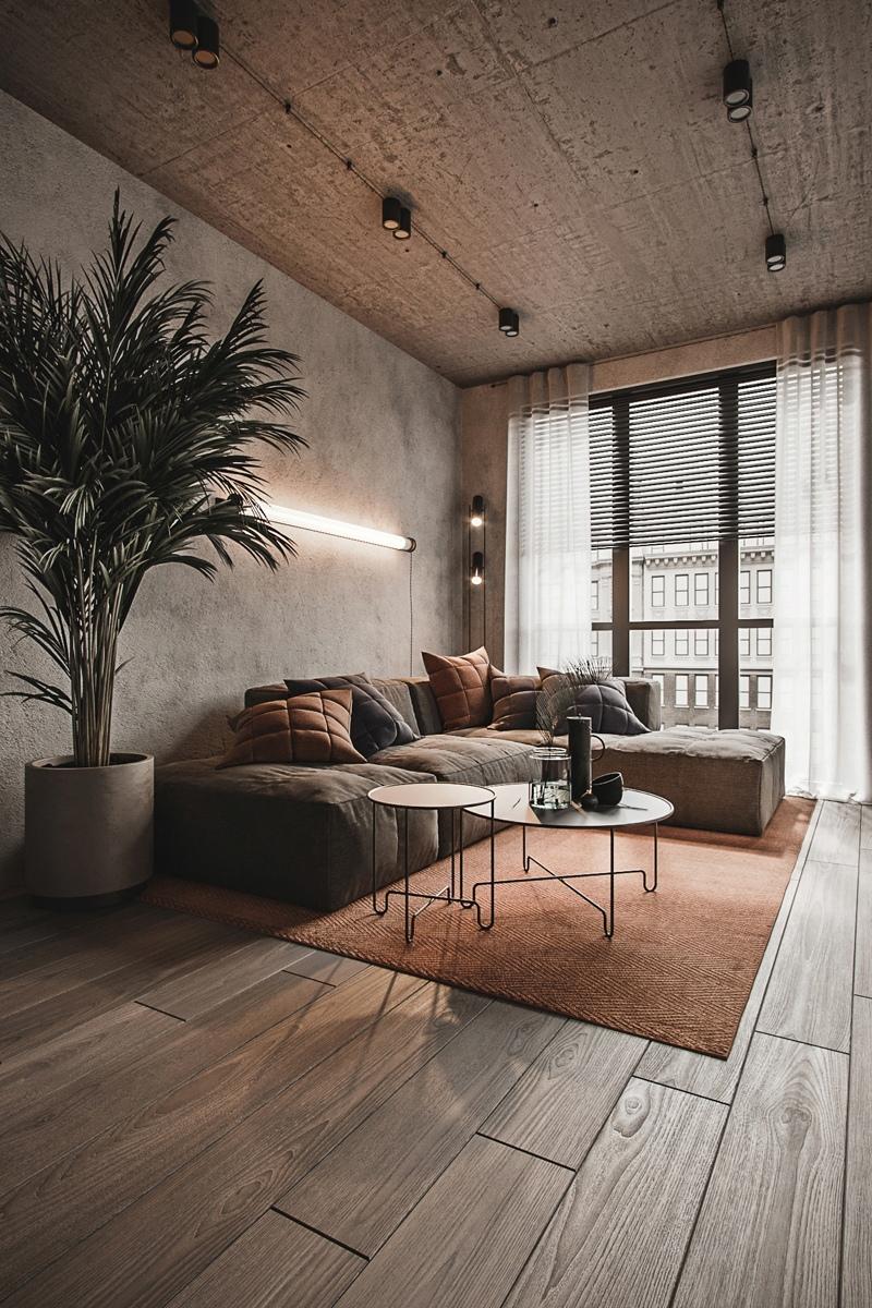 Проект квартиры открытой планировки 50 кв.