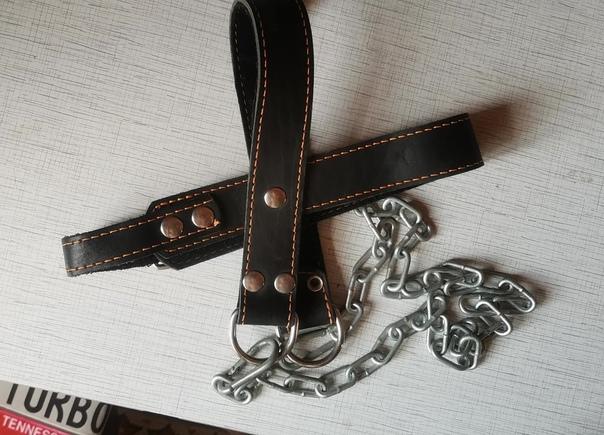 Головная лямка для тяги кожаная с цепью. В отлично...