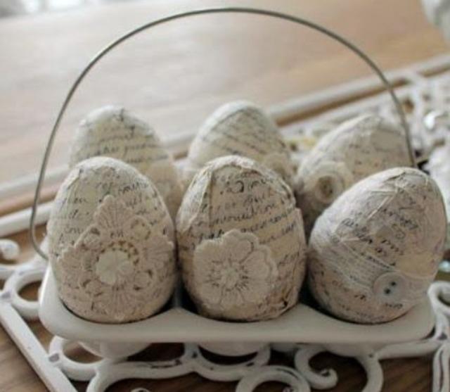 Как оформить яйца в винтажном стиле,
