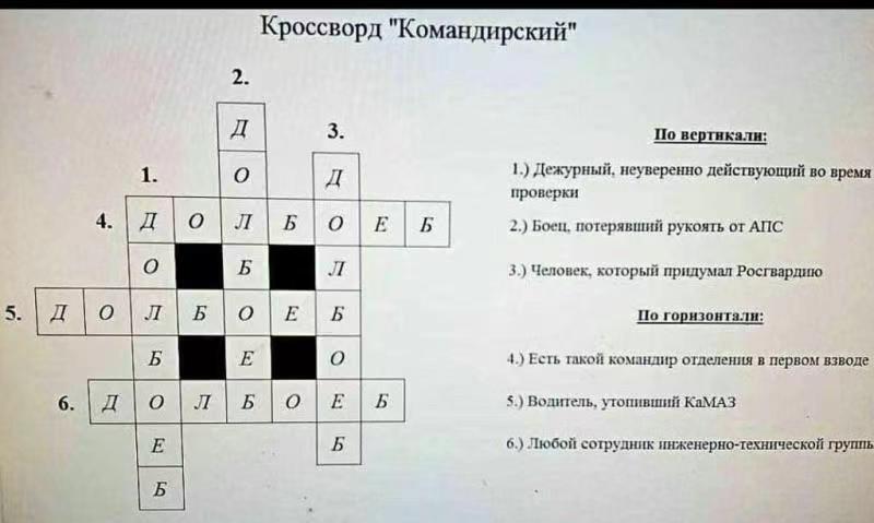 Кроссворд командирский