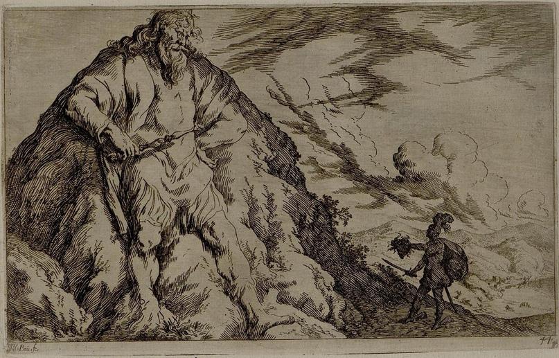Персей и Атлас; Персей справа, в тени Атласа, показывает голову Медузы в левой руке, в правой руке он держит меч; слева Атлас, превращенный в камень, смотрящий на Персея внизу, со скипетром в правой руке, левой рукой на бедре; его тело превратилось в гору. 1641.