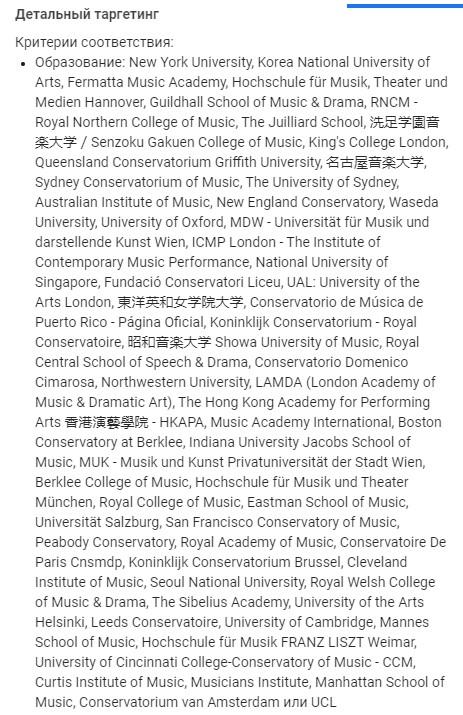 Пример детального таргетинга по музыкальным учебных заведениям