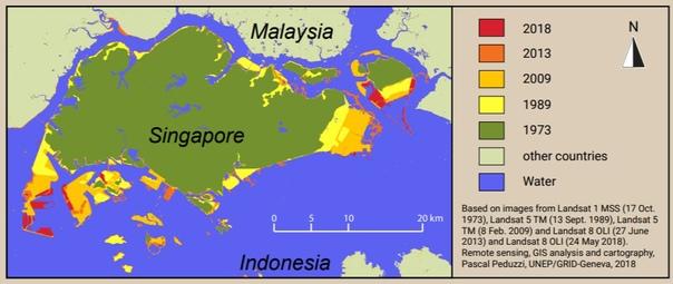 За последние 40 лет площадь Сингапура увеличилась почти на 20% Интересная графика из доклада WWF об использовании и добыче песка: как росла площадь Сингапура. С 1973 года, по мере роста