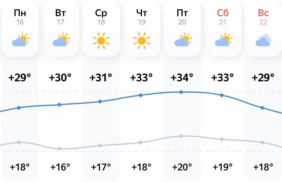 Заглянем в прогноз погоды на неделю. Нам