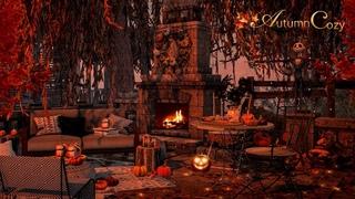 🍂🍃AUTUMN PORCH AMBIENCE: Pumpkin Guts, Sizzling Pumpkin Seeds, Fireplace Sounds, Nature Sounds