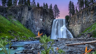 Waterfall in the moonlight with a bubbling stream - Ambient sounds - HD