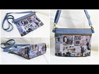 ダブルファスナーサコッシュ作り方 DIY double zipper shoulder bag 隠しマチダブルファス&
