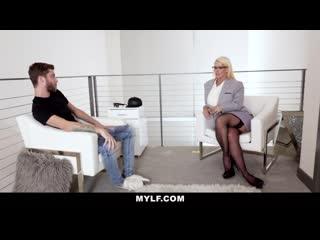 Milf mature blonde mylf gets cum on her monster tits